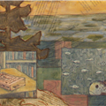 detail: books and fish insets - books and fish insets